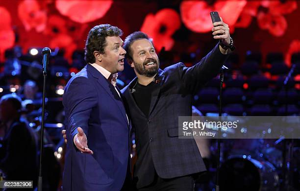 Michael Ball and Alfie Boe take a selfie inbetween rehearsing for their performance at the Royal British Legion's Festival of Rememberance at Royal...
