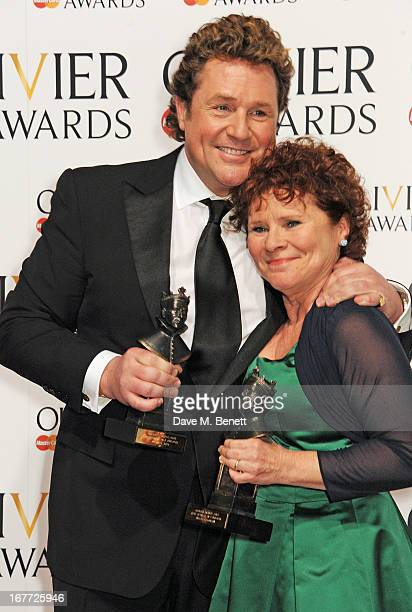 Michael Ball and Imelda Staunton winners of Best Actor and Actress in a Musical for 'Sweeney Todd' pose in the press room at The Laurence Olivier...