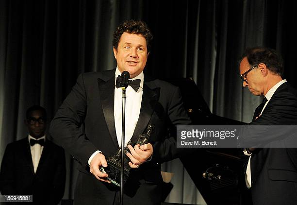 Michael Ball and Jonathan Kent accept the Ned Sherrin Award for Best Musical for 'Sweeney Todd' at the 58th London Evening Standard Theatre Awards in...
