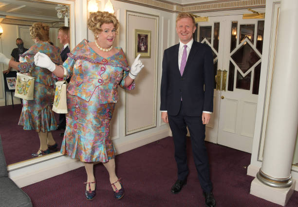 """GBR: Michael Ball & Secretary Of State For Culture Oliver Dowden Celebrate The Opening Night Of """"Hairspray"""""""