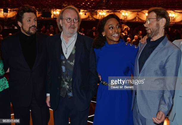 Michael Ball Benny Andersson Alexandra Burke and Bjorn Ulvaeus pose onstage during the press night performance of 'Chess' at The London Coliseum on...