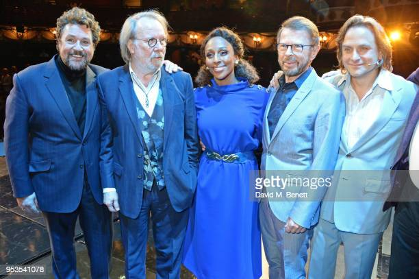 Michael Ball Benny Andersson Alexandra Burke Bjorn Ulvaeus and Tim Howar pose onstage during the press night performance of Chess at The London...