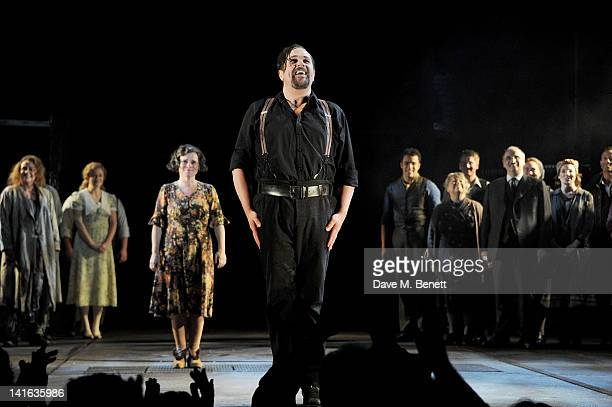 Michael Ball bows at the curtain call during the press night performance of 'Sweeney Todd' at the Adelphi Theatre on March 20 2012 in London England