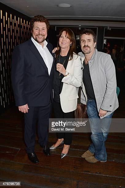 Michael Ball Cathy McGowan and Con O'Neill attend an after party celebrating the Once The Musical Oxfam Gala at Paramount on March 17 2014 in London...
