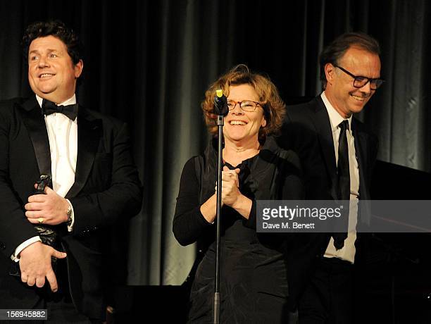 Michael Ball Imelda Staunton and Jonathan Kent accept the Ned Sherrin Award for Best Musical for 'Sweeney Todd' at the 58th London Evening Standard...