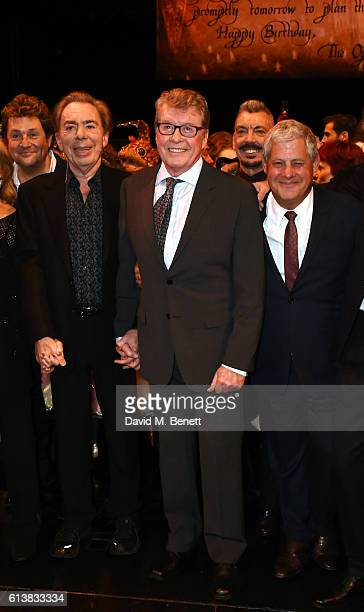 Michael Ball Lord Andrew Lloyd Webber Michael Crawford and Sir Cameron Mackintosh bow onstage at The Phantom Of The Opera 30th anniversary charity...