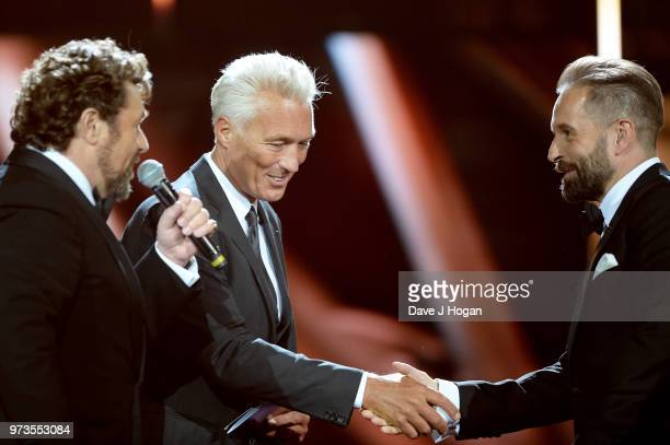 Michael Ball Martin Kemp and Alfie Boe on stage at the Group of the Year award during the 2018 Classic BRIT Awards held at Royal Albert Hall on June...