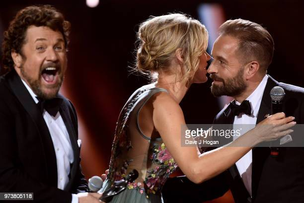 Michael Ball presenter Charlotte Hawkins and Alfie Boe on stage during the 2018 Classic BRIT Awards held at Royal Albert Hall on June 13 2018 in...