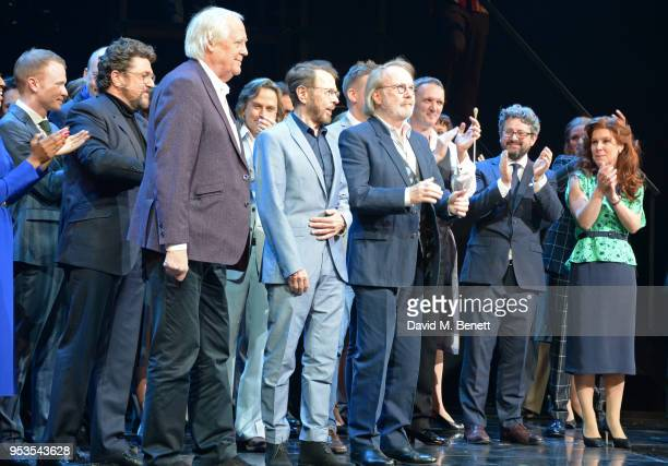 Michael Ball Sir Tim Rice Bjorn Ulvaeus Benny Andersson conductor John Rigby director Laurence Connor and Cassidy Janson bow at the curtain call...