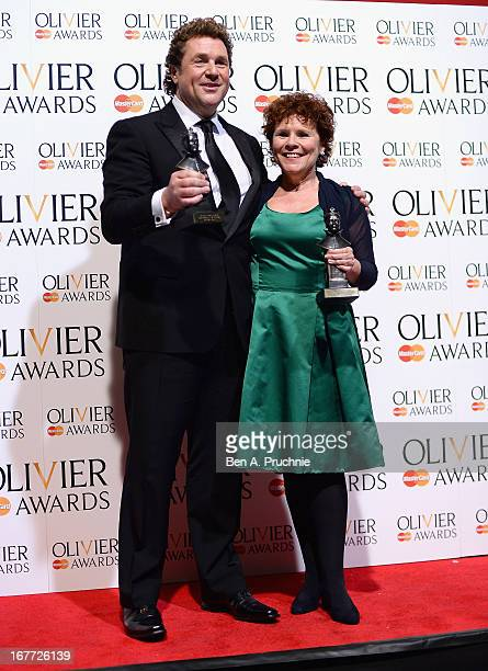Michael Ball with his Best Actor in a Musical award and Imelda Staunton with ther Best Actress in a Musical award during The Laurence Olivier Awards...