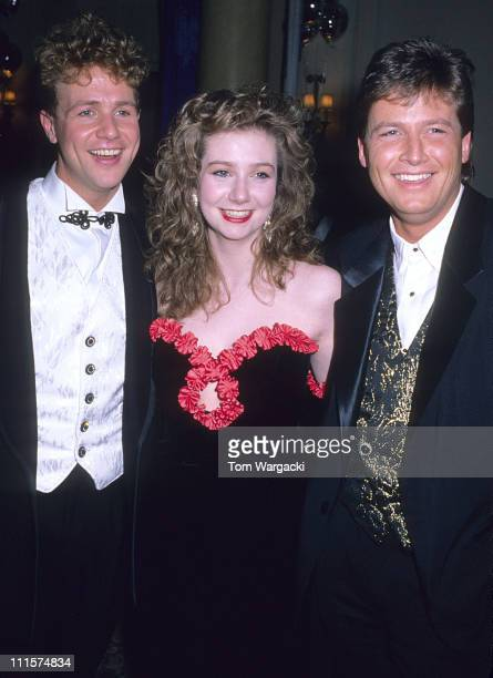 Michael Ball with his sister and brother during Michael Ball at the Opening Night Party of the Musical 'Aspects of Love' at Waldorf Hotel in London...