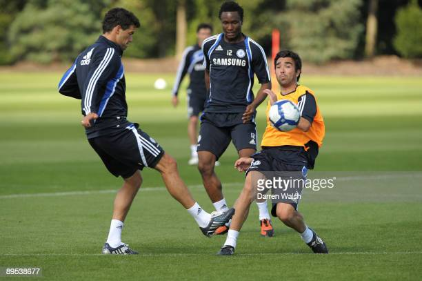 Michael Ballack and Deco of Chelsea take part in a training session at the chelsea fc training ground on July 31 2009 in Cobham Surrey
