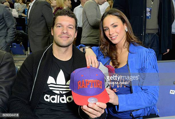 Michael Ballack and Natacha Tannous attend Orlando Magic vs Toronto Raptors NBA Global Game at The O2 Arena on January 14 2016 in London England