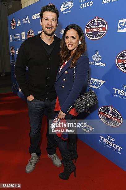 Michael Ballack and Natacha Tannous attend the Denver Nuggets v Indiana Pacers game during NBA Global Games London 2017 at The O2 Arena on January 12...