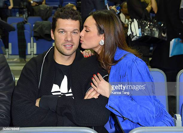 Michael Ballack and Natacha Tannous attend the Orlando Magic vs Toronto Raptors NBA Global Game at The O2 Arena on January 14 2016 in London England