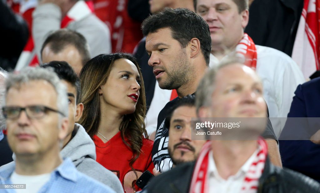 Michael Ballack and Natacha Tannous attend the UEFA Champions League Semi Final first leg match between Bayern Muenchen (Bayern Munich) and Real Madrid at the Allianz Arena on April 25, 2018 in Munich, Germany.