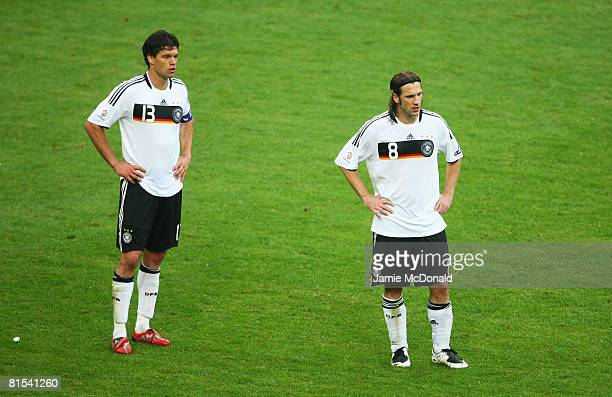 Michael Ballack and Torsten Frings of Germany look dejected during the UEFA EURO 2008 Group B match between Croatia and Germany at Worthersee Stadion...