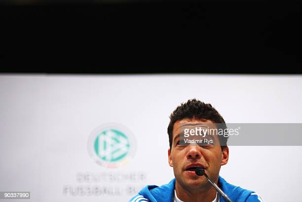 Michael Ballack attends the German Football National Team press conference at the Guerzenich Koeln on September 4 2009 in Cologne Germany