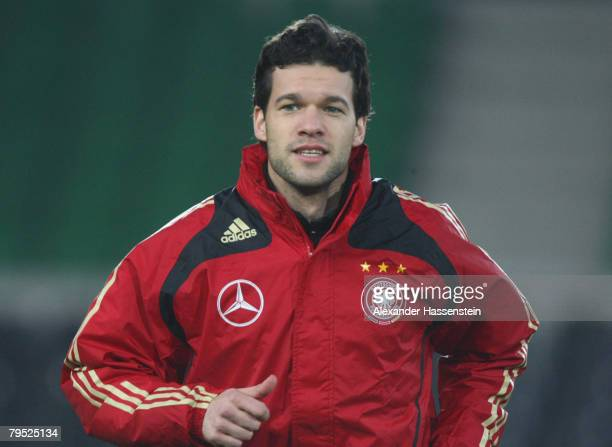 Michael Ballack is seen in action during the training session of the German National football team at the Ernst-Happel-Stadion on February 5, 2008 in...