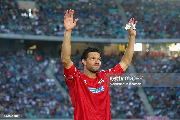Michael Ballack looks on prior the Michael Ballack farewell match at Red Bull Arena on June 5 2013 in Leipzig Germany