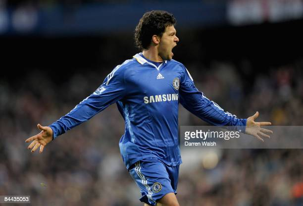 Michael Ballack of Chelsea celebrates after scoring a free kick during the FA Cup Sponsored by E.on fourth round match between Chelsea and Ipswich...