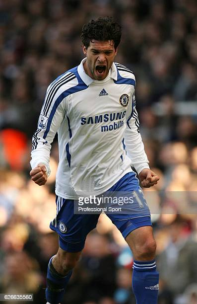 Michael Ballack of Chelsea celebrates as he scores their third goal of four during the Barclays Premier League match between West Ham United and...