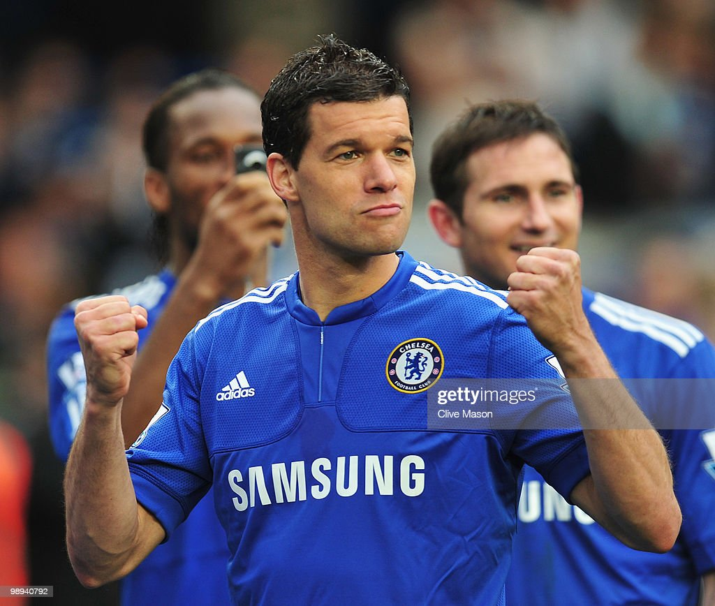 Michael Ballack of Chelsea celebrates as they win the title after the Barclays Premier League match between Chelsea and Wigan Athletic at Stamford Bridge on May 9, 2010 in London, England. Chelsea won 8-0 to win the championship.