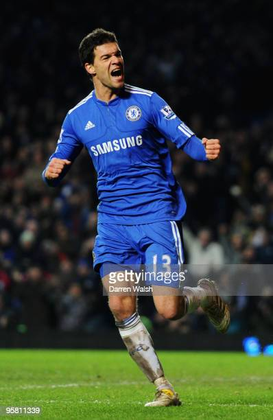 Michael Ballack of Chelsea celebrates scoring his sides fifth goal during the Barclays Premier League match between Chelsea and Sunderland at...