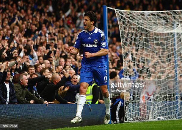 Michael Ballack of Chelsea celebrates scoring his team's first goal during the Barclays Premier League match between Chelsea and Bolton Wanderers at...