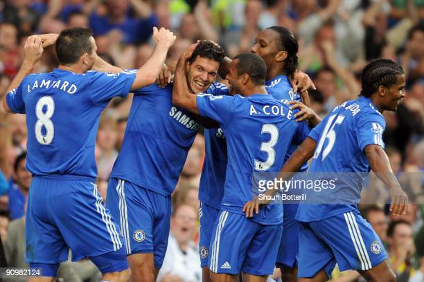 Michael Ballack of Chelsea celebrates with his team mates after he scored during the Barclays Premier League match between Chelsea and Tottenham...