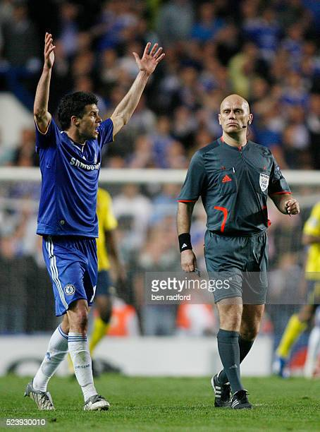 Michael Ballack of Chelsea complains to Referee Tom Henning Ovrebo after having a penalty turned down during the UEFA Champions League Semi -Final...