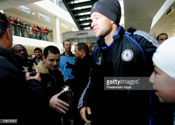 Michael Ballack of Chelsea FC arrives at Bremen airport on November 21, 2006 in Bremen, Germany. Chelsea will play against Werder Bremen in the UEFA...