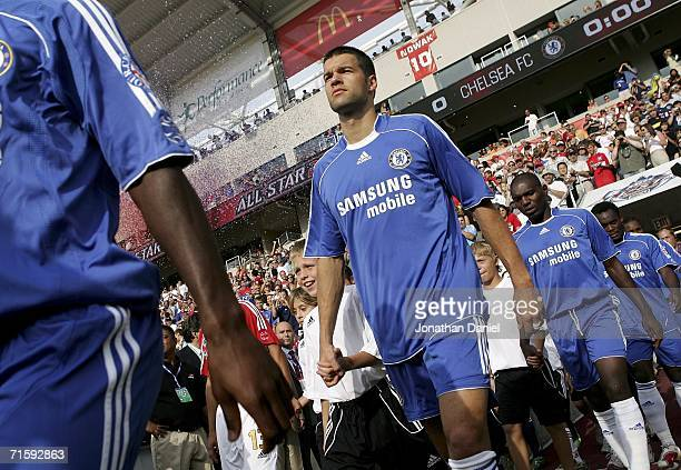 Michael Ballack of Chelsea FC walks out to the pitch before his first match against the MLS AllStars on August 5 2006 during the Sierra Mist MLS...