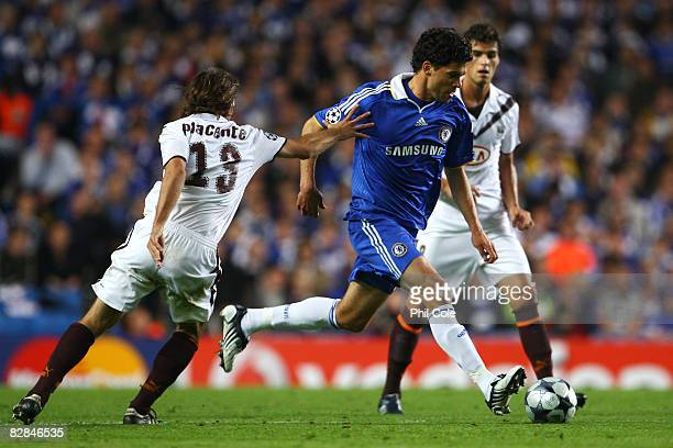 Michael Ballack of Chelsea gets past Diego Placente of Bordeaux during the UEFA Champions League Group A match between Chelsea and Bordeaux at...