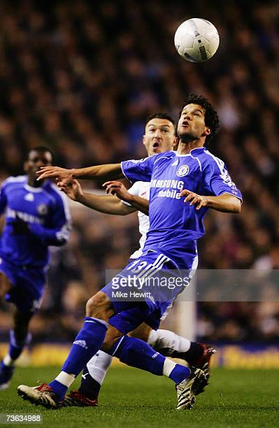 Michael Ballack of Chelsea holds off the challenge of Steed Malbranque of Tottenham Hotspur during the FA Cup sponsored by E.ON Quarter Final replay...