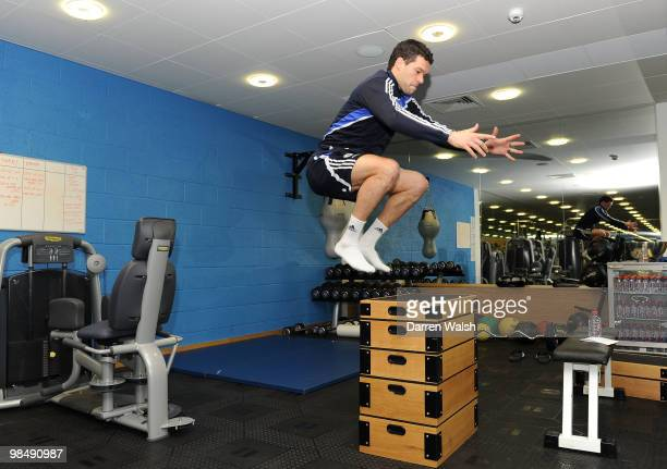 Michael Ballack of Chelsea in the gym after a training session at the Cobham training ground on February 26, 2010 in Cobham, England.