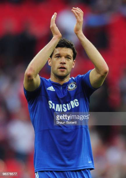 Michael Ballack of Chelsea salutes the crowd after the FA Cup sponsored by EON Semi Final match between Aston Villa and Chelsea at Wembley Stadium on...