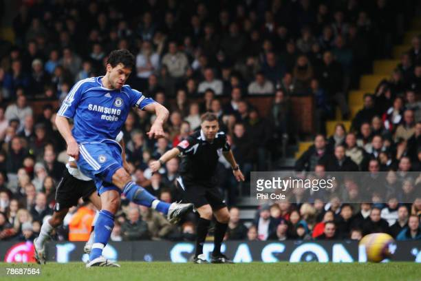 Michael Ballack of Chelsea scores for his side from the penalty spot during the Barclays Premier League match between Fulham and Chelsea at Craven...