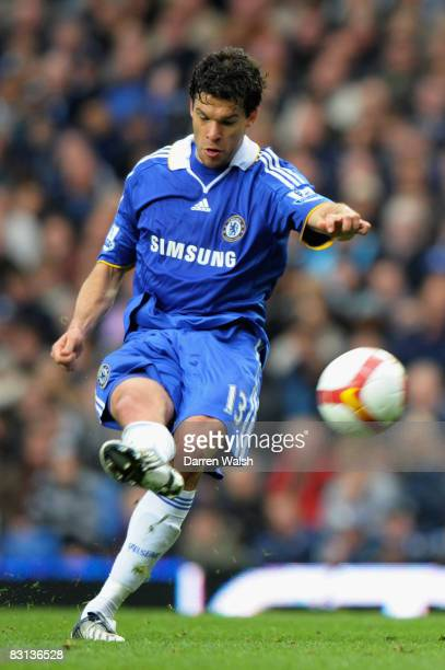 Michael Ballack of Chelsea takes a free kick during the Barclays Premier League match between Chelsea and Aston Villa at Stamford Bridge on October 5...