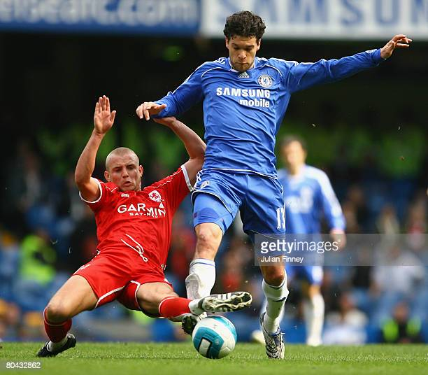 Michael Ballack of Chelsea takes on Lee Cattermole of Middlesbrough during the Barclays Premier League match between Chelsea and Middlesbrough at...
