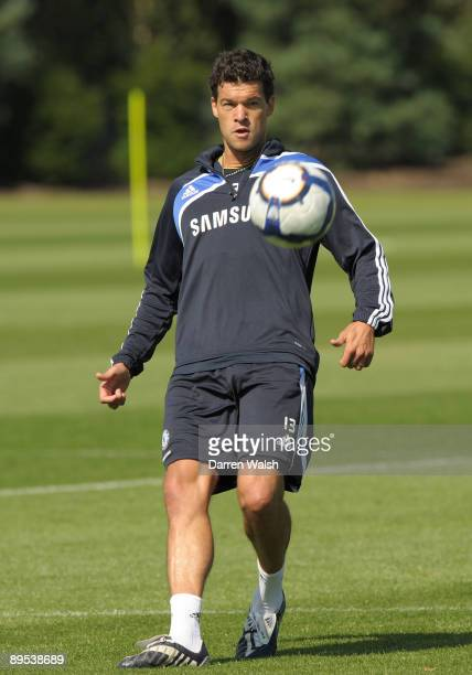 Michael Ballack of Chelsea takes part in a training session at the Chelsea FC training ground on July 31 2009 in Cobham Surrey