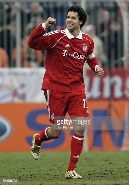 Michael Ballack of FC Bayern Munich celebrates after he scored 10 during the UEFA Champions League round of 16 first leg match between Bayern Munich...