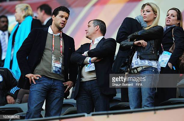 Michael Ballack of Germany and Svenja girlfriend of Oliver Kahn watch the game during the 2010 FIFA World Cup South Africa Quarter Final match...