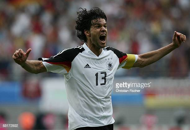 Michael Ballack of Germany celebrate the fourth goal for Germany during the match between Germany and Mexico for third place in the FIFA...
