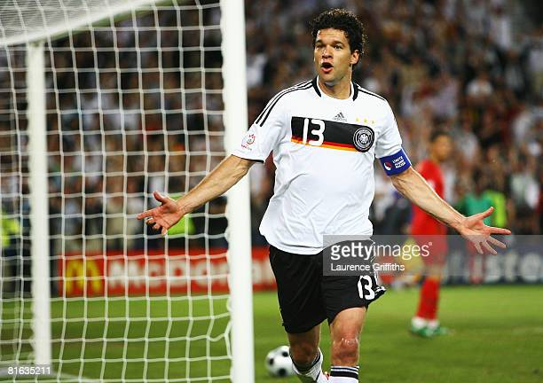 Michael Ballack of Germany celebrates after scoring his team's third goal during the UEFA EURO 2008 Quarter Final match between Portugal and Germany...