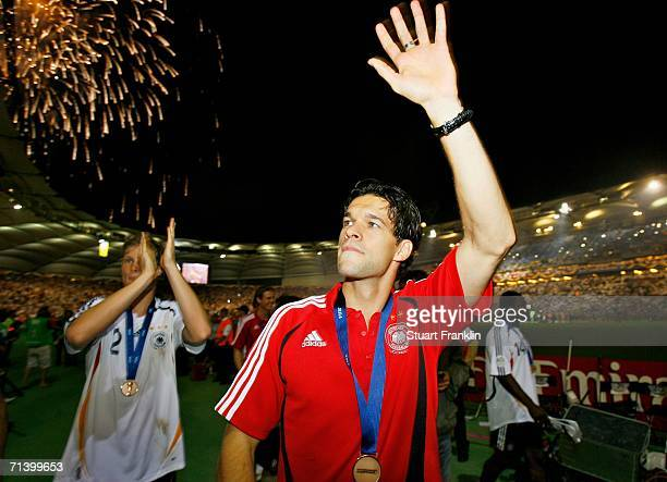 Michael Ballack of Germany celebrates after the FIFA World Cup Germany 2006 Third Place Playoff match between Germany and Portugal played at the...