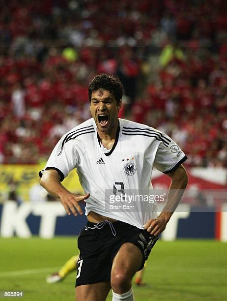 Michael Ballack of Germany celebrates scoring the winning goal during the FIFA World Cup Finals 2002 Semi-Final match between Germany and South Korea...