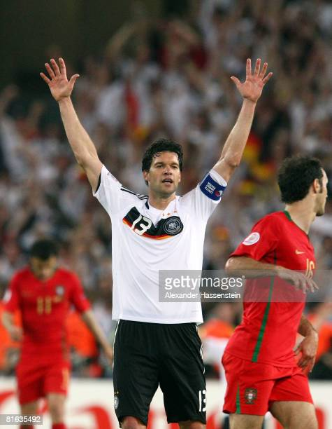 Michael Ballack of Germany celebrates victory after the final whistle in the UEFA EURO 2008 Quarter Final match between Portugal and Germany at St....