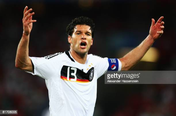 Michael Ballack of Germany during the UEFA EURO 2008 Semi Final match between Germany and Turkey at St JakobPark on June 25 2008 in Basel Switzerland