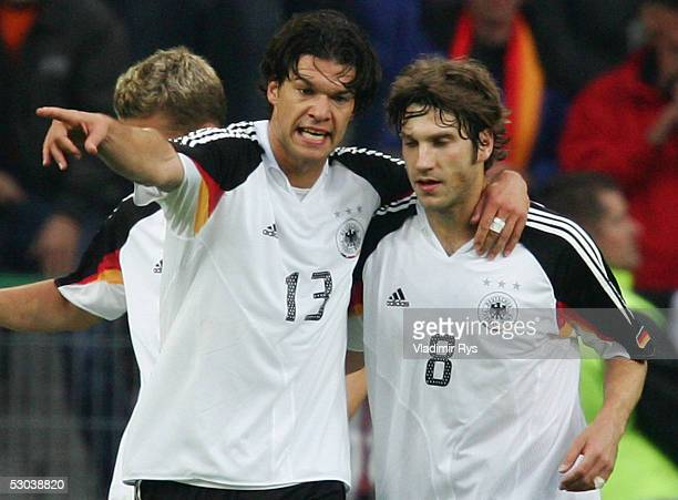 Michael Ballack of Germany gives instructions to his team mate Torsten Frings during the friendly match between Germany and Russia on June 8 2005 in...